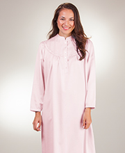 Kayanna Brushed Back Satin Plus Nightgown - Long Mandarin Collar in Pink