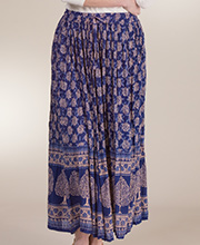Belma One Size Crinkle Rayon Printed Skirts in Arbor