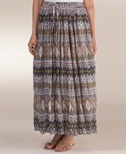 Skirts for Women - Belma 100% Rayon Long Broomstick Skirt in Baltic