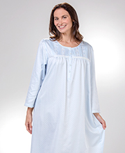 Miss Elaine Brushed Back Satin - Long Pintucked Nightgown in Dotted Blue