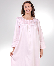 Miss Elaine Brushed Back Satin - Long Pintucked Nightgowns in Dotted Pink