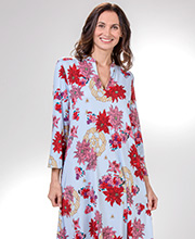 Long Kaftans - Natori Poly Knit 2/3 Sleeve V-Neck Caftan in Floral Medallion