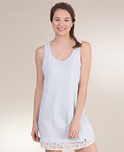 Jane and Bleecker Cotton Blend Racer-Back Nightshirt in Blue Heather