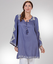 Nostalgia Apparel Rayon Bell Sleeve Dress in Slate Blue