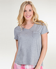 Jane and Bleecker Rayon Short Sleeve Tee in Gray