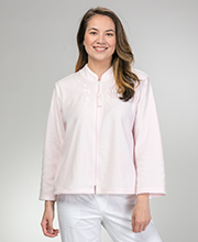 Miss Elaine Bed Jacket - Ribbed Terry Fleece Zip Front in Pink