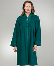 Miss Elaine Robes - Ribbed Terry Fleece Zip Front Robe in Emerald
