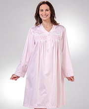 Satin Nightgowns - Miss Elaine Short Brushed Back V-Neck in Pink Geo