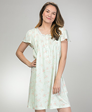 Miss Elaine Silkyknit Flutter Sleeve Short Nightgown in Minty Floral