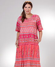 La Cera Long Dresses - Short Sleeve 100% Cotton Muumuu Dress in Floral Coral