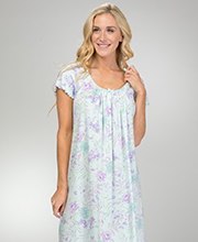 Miss Elaine SofiKnit Poly Rayon Knit Long Nightgown in Lavender Floral