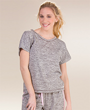 Kensie Short Sleeve Rayon/Poly Top in Gray
