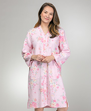 Miss Elaine Bathrobes - Snap Front Quilted Robe in Pink Roses