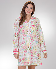 La Cera Night Shirt - Long Sleeve 100% Cotton Knit Sleep Shirt in Blooming Sundance