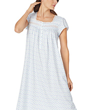Long Cotton Knit Cap Sleeve Nightgown by Eileen West in Cabana Daisy