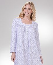Nightgowns by Eileen West - Long Sleeve Cotton Knit in Plumwood Vine