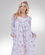 Long Sleeve Eileen West Cotton Lawn Nightgown in Lilac Corsage