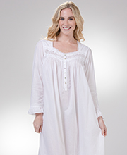 Nightgowns by Eileen West - Long Sleeve Cotton Lawn in White Corsage