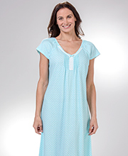 Miss Elaine Nightgowns - Cotton Poly Long Knit Short Sleeve Gown in Aqua Wish