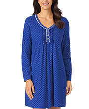 Carole Hochman Cotton Knit Long Sleeve Night Shirt in Navy Dot