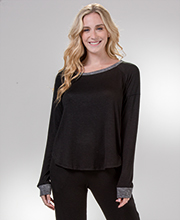 Kensie Long Sleeve Rayon Polyester Top & Pants Lounge Set in Black