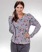 Kensie Loungewear - Rayon/Poly Long Sleeve Floral Top and Cotton Blend Gray Pants