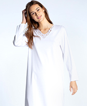 Calida Cosy Cotton Nights - Long Sleeve V-Neck Cotton Knit Nightgown in Pure White