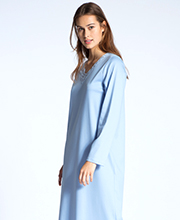 Calida Cosy Nights Sleepwear - Long Sleeve Cotton Knit V-Neck Nightgown in Clear Blue