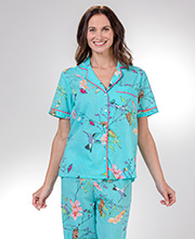 Cotton Pajamas - La Cera Short Sleeve PJ Set in Garden Tropic