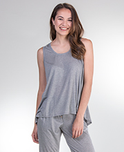 Josie by Natori Tank Sets - Modal Knit Heather Gray Tank & Pants