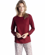 Calida Cosy Cotton Nights Long Sleeve Knit Pajamas in Zinfandel Paisley
