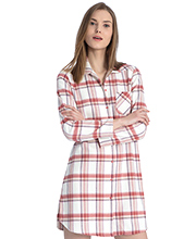 Calida Button Down Cotton Long Sleeve Night Shirt in Old Rose Plaid