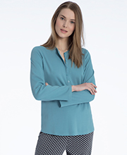 Calida Long Sleeve Cotton Knit Button Tab Pajama Set - Turquoise Shade