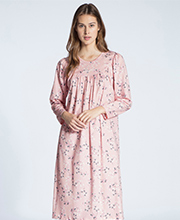 Calida Cotton Knit Nightgowns in Long Sleeve Silver Pink
