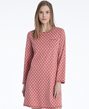Calida Long Sleeve 100% Cotton Knit Sleep Shirt in Dusty Red