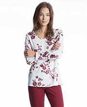 Calida Cotton Knit Long Sleeve V-Neck Pajamas in Wine Floral