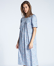 Calida Nightgowns - Cotton Knit Short Sleeve in Forever Blue