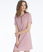 Calida Sleepshirts - Cotton Knit Short Sleeve Short Nightgown in Deco Rose