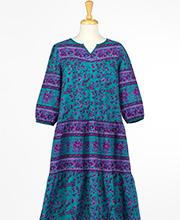 Plus Size La Cera Cotton 3/4 Sleeve MuuMuu Dress in Teal Isle