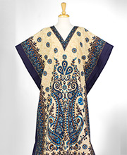 Plus Cotton Kaftan Lounger - V-Neck Long Woven Cotton in Teal Paisley