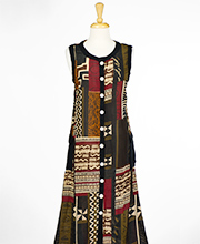 Plus Rayon Dresses - Button-Front Semi-Sheer Rayon Sleeveless Long Dress in Tribal Art