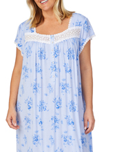 Plus Size Eileen West Modal Knit Nightgown - Mid-length Cap Sleeve in Peri Pansies