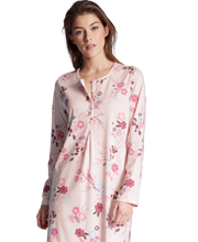 Calida Long Sleeve Cotton Cosy Nights Knit Nightgown in Pink Charms