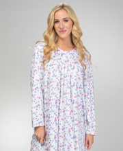 Calida Cotton Nightgowns - Long Sleeve Knit Gown in Assorted Prints