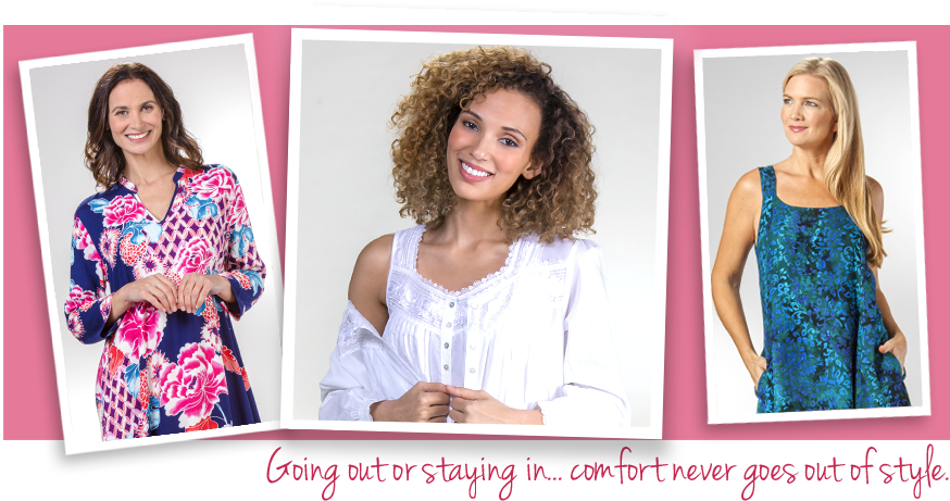 Shop SereneComfort.com for all your sleepwear and clothing needs - nightgowns, dresses, kaftans, beachwear and more