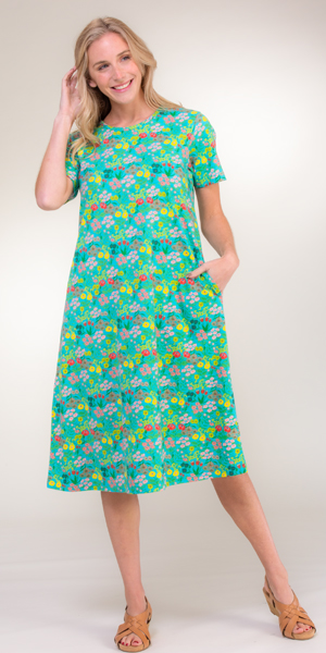 La Cera Cotton Knit Dress in Pixie Dust multi floral print on Turquoise