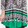 La Cera Tops - Poly Blend 3/4 Sleeve Silky Tunic in Emerald Chic