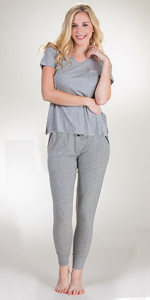 Short Sleeve Pajamas - Jane and Bleecker Rayon Blend PJs in Gray