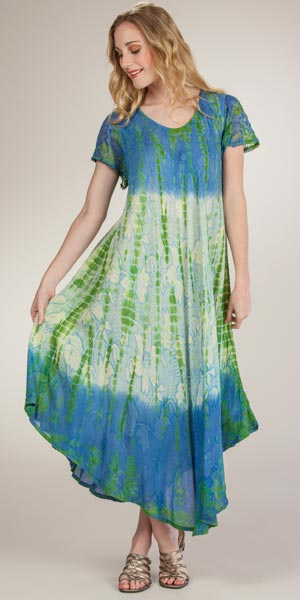 cce3ff6c3e0a Cotton Long Dress - Short Sleeve One Size Beach Dress - Luminous Skies