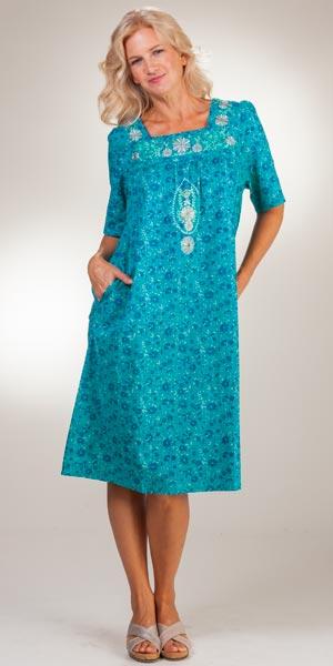 607aa73ff7400 Cotton House Dresses - La Cera Short Sleeve Muu Muu Dress in Teal Mint